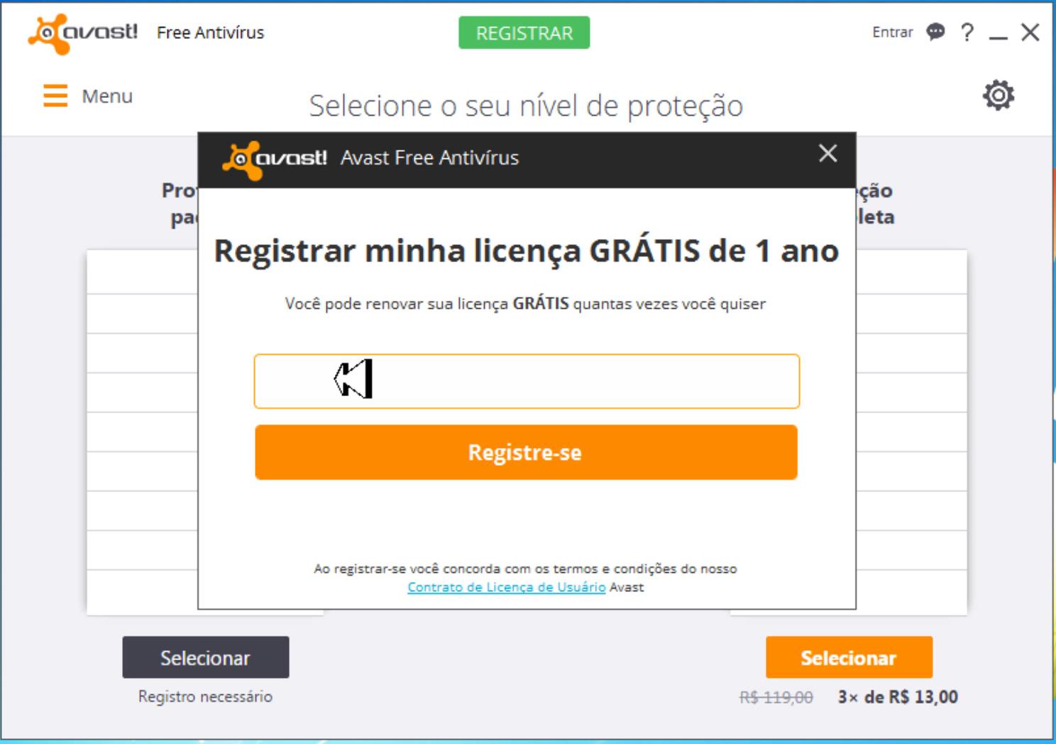 codigo de ativação avast free antivirus